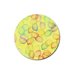 Watercolors On A Yellow Background                Rubber Coaster (round) by LalyLauraFLM