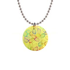 Watercolors On A Yellow Background                1  Button Necklace by LalyLauraFLM