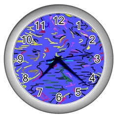 Paint Strokes On A Blue Background              Wall Clock (silver) by LalyLauraFLM
