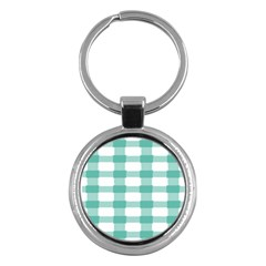 Plaid Blue Green White Line Key Chains (round)  by Mariart