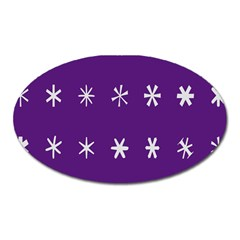 Purple Flower Floral Star White Oval Magnet by Mariart
