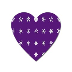 Purple Flower Floral Star White Heart Magnet by Mariart