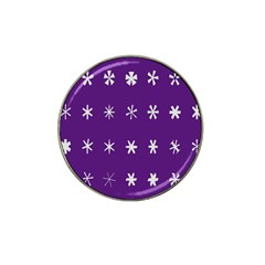 Purple Flower Floral Star White Hat Clip Ball Marker (10 Pack) by Mariart
