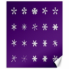 Purple Flower Floral Star White Canvas 8  X 10  by Mariart