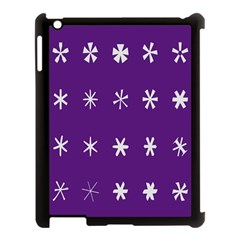 Purple Flower Floral Star White Apple Ipad 3/4 Case (black) by Mariart