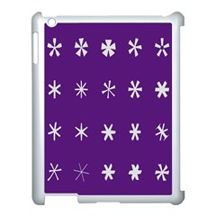 Purple Flower Floral Star White Apple Ipad 3/4 Case (white) by Mariart