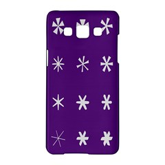 Purple Flower Floral Star White Samsung Galaxy A5 Hardshell Case  by Mariart