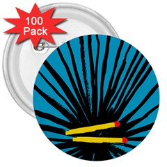 Match Cover Matches 3  Buttons (100 Pack)  by Mariart