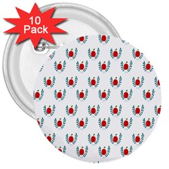 Sage Apple Wrap Smile Face Fruit 3  Buttons (10 Pack)  by Mariart
