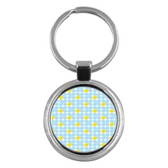 Retro Stig Lindberg Vintage Posters Yellow Blue Key Chains (round)  by Mariart