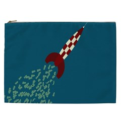 Rocket Ship Space Blue Sky Red White Fly Cosmetic Bag (xxl)  by Mariart
