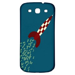 Rocket Ship Space Blue Sky Red White Fly Samsung Galaxy S3 S Iii Classic Hardshell Back Case by Mariart