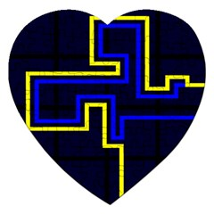 Tron Light Walls Arcade Style Line Yellow Blue Jigsaw Puzzle (Heart) by Mariart