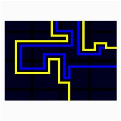 Tron Light Walls Arcade Style Line Yellow Blue Large Glasses Cloth by Mariart