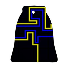 Tron Light Walls Arcade Style Line Yellow Blue Ornament (bell) by Mariart