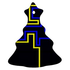 Tron Light Walls Arcade Style Line Yellow Blue Christmas Tree Ornament (two Sides) by Mariart