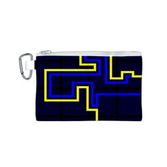 Tron Light Walls Arcade Style Line Yellow Blue Canvas Cosmetic Bag (s) by Mariart