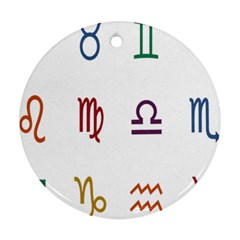 Twelve Signs Zodiac Color Star Round Ornament (two Sides) by Mariart