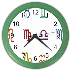 Twelve Signs Zodiac Color Star Color Wall Clocks by Mariart