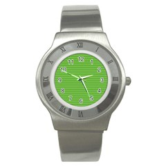 Lines Pattern Stainless Steel Watch by Valentinaart