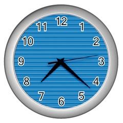 Lines Pattern Wall Clocks (silver)  by Valentinaart