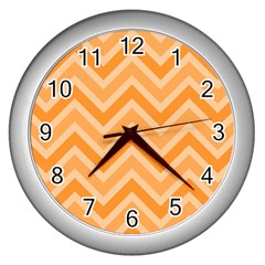 Zigzag  Pattern Wall Clocks (silver)  by Valentinaart