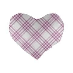 Zigzag Pattern Standard 16  Premium Flano Heart Shape Cushions by Valentinaart