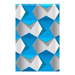 Blue White Grey Chevron Shower Curtain 48  X 72  (small)  by Mariart