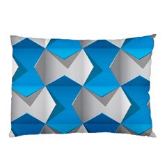Blue White Grey Chevron Pillow Case (two Sides) by Mariart