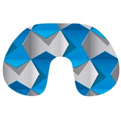 Blue White Grey Chevron Travel Neck Pillows by Mariart