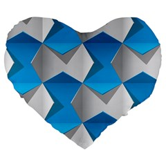 Blue White Grey Chevron Large 19  Premium Flano Heart Shape Cushions by Mariart