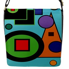 Basic Shape Circle Triangle Plaid Black Green Brown Blue Purple Flap Messenger Bag (s) by Mariart
