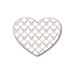 Baseball Bat Scrapbook Sport Rubber Coaster (heart)  by Mariart