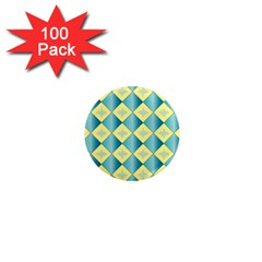 Yellow Blue Diamond Chevron Wave 1  Mini Magnets (100 Pack)  by Mariart