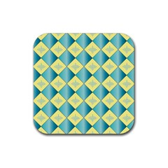 Yellow Blue Diamond Chevron Wave Rubber Coaster (square)  by Mariart