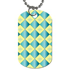 Yellow Blue Diamond Chevron Wave Dog Tag (two Sides) by Mariart