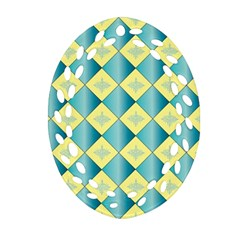 Yellow Blue Diamond Chevron Wave Oval Filigree Ornament (two Sides) by Mariart