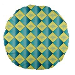 Yellow Blue Diamond Chevron Wave Large 18  Premium Flano Round Cushions by Mariart