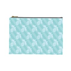 Christmas Day Ribbon Blue Cosmetic Bag (large)  by Mariart