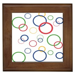 Circle Round Green Blue Red Pink Yellow Framed Tiles by Mariart