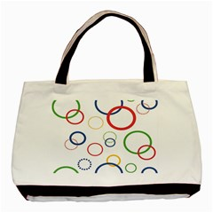 Circle Round Green Blue Red Pink Yellow Basic Tote Bag by Mariart
