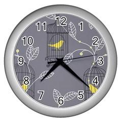Cagr Bird Leaf Grey Yellow Wall Clocks (silver)  by Mariart
