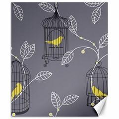 Cagr Bird Leaf Grey Yellow Canvas 8  X 10  by Mariart