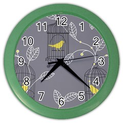 Cagr Bird Leaf Grey Yellow Color Wall Clocks by Mariart