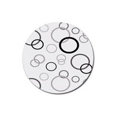 Circle Round Black Grey Rubber Coaster (round)  by Mariart