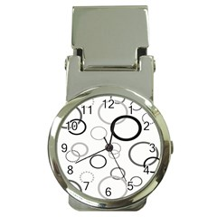 Circle Round Black Grey Money Clip Watches by Mariart