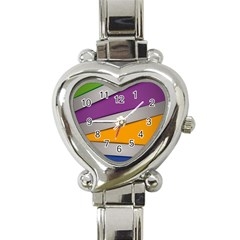 Colorful Geometry Shapes Line Green Grey Pirple Yellow Blue Heart Italian Charm Watch by Mariart