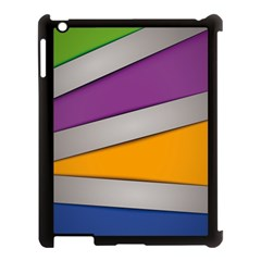 Colorful Geometry Shapes Line Green Grey Pirple Yellow Blue Apple Ipad 3/4 Case (black) by Mariart