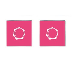 Circle White Pink Cufflinks (square) by Mariart
