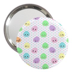 Egg Easter Smile Face Cute Babby Kids Dot Polka Rainbow 3  Handbag Mirrors by Mariart